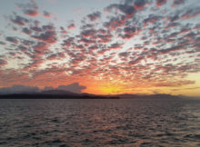 Sunset over Gulf of Nicoya from ferry