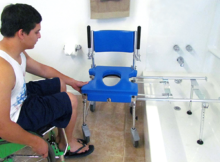 Go-Anywhere commode, shower 'n' tub chair (CST) setup in tub